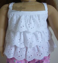 White Eyelet Lace Ruffle Tank Top Blouse fits American Girl Doll Clothes… – Increase Your Breast Size By 2 Cup Sewing Doll Clothes, American Doll Clothes, Girl Doll Clothes, Doll Clothes Patterns, Clothing Patterns, Girl Dolls, Doll Patterns, Ag Dolls, American Girl Diy