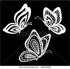 set of beautiful black and white guipure lace butterflies isolated.  Floral design for greeting card and invitation of wedding, birthday, Valentine's Day, mother's day and seasonal holiday