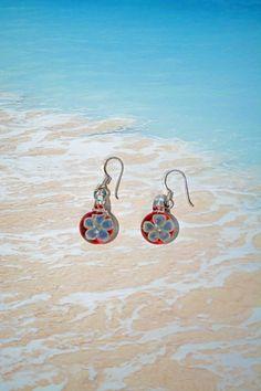 Lampwork borosilicate glassflower earrings 1 by leveloindigo