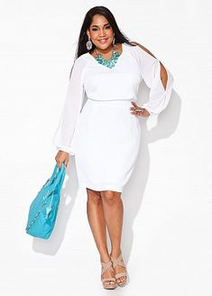 SPRING & SUMMER FASHION TRENDS 2017! Stitch Fix plus size fashion. Beautiful cold shoulder white dress. Great for resorts, vacation, date night or white party. #sponsored #stitchfix