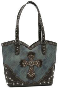 Ladies Blue Marble with Brown Layered Western Cross & Crystals Bucket Bag