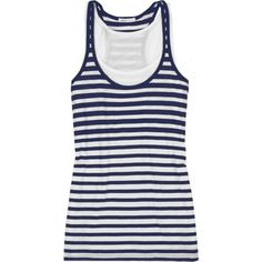 Vince Layered tank top. (Two tops in one - blue/white stripes + white)