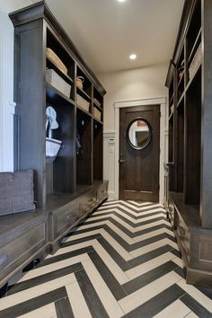 Gray Chevron Floor Tiles - Design photos, ideas and inspiration. Amazing gallery of interior design and decorating ideas of Gray Chevron Floor Tiles in laundry/mudrooms, bathrooms, boy's rooms by elite interior designers. Design Entrée, Floor Design, House Design, Design Ideas, Tile Design, Design Trends, Style At Home, Best Engineered Wood Flooring, Chevron Floor