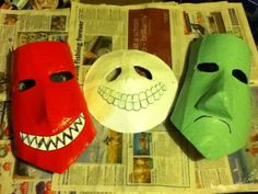 These are masks I made myself for a nightmare before Xmas group at London mcm oct They took me 2 weeks to make from basic paper mâché and painted . Lock, Shock and Barrel masks Halloween 2019, Halloween Costumes, Sally Costume, Movie Crafts, All Movies, Nightmare Before, Hallows Eve, Paper Mache, Kylie