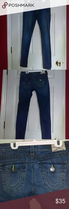 TRUE RELIGION JEANS Women True Religion skinny jeans..denim...size 27..cotton with 2% elastic...great condition..only worn 2X..unfortunately I gained few Lbs can't fit anymore...no flaws... Perfect condition..True Religion jeans will never go out of style so grab these great denim jeans asap!!! True Religion Jeans Skinny
