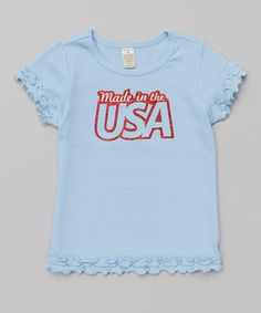 Love this Baby Blue 'Made in the USA' Ruffle Tee - Infant, Toddler & Girls by Bourbon Street Boutique on #zulily! #zulilyfinds