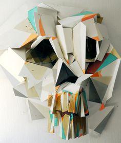 Clemens Behr Paper Sculpture - The skull Behr, Instalation Art, Art Sculpture, Cardboard Sculpture, Paper Sculptures, Wow Art, Art Design, Art Plastique, Skull Art