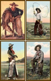 Wallhanging - Cowboys - Set 002 - Vintage Cowboys - Quilted