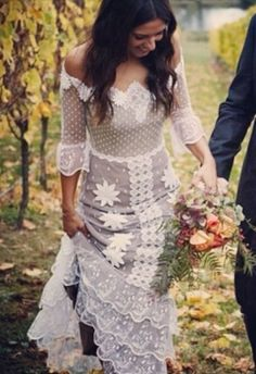 Gypsy boho wedding dress. I'm in love with this cut. by Maiden11976