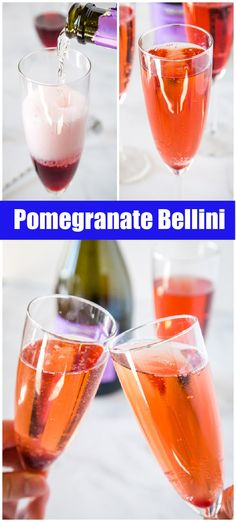 Pomegranate Bellini - A sparkling cocktail made with a pomegranate syrup and Prosecco. They are frizzy, refreshing and a fun way to celebrate!
