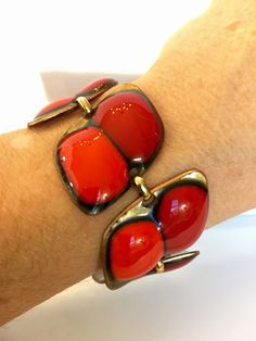 Vintage Kay Denning Enamel Bracelet 60s by AntiqueJewelryForFun