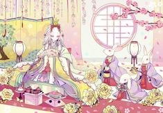 Very cute Hina Matsuri inspired art by showing a girl wearing the lavish heian junihitoe style. If you look well, you can see in front of her an hishi-mochi, a colorful rice cake specially only. Hina Matsuri, Anime Kimono, Writing Fantasy, Japanese Art, Female Art, Art Boards, Iphone Wallpaper, Anime Art, Disney Characters