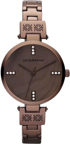 LIZ CLAIBORNE Liz Claiborne Womens Mother-of-Pearl Skinny Bronze-Tone  Bracelet Watch bdb6bcc96a