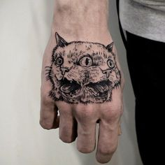 Conjoined two-headed cat black line work illustration style tattoo