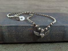Silver Flying Heart Crochet Necklace  artisan by JunoniaDesigns, $32.00