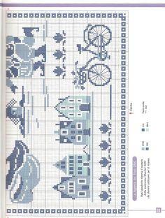 Delft Blue Sampler of 2 Cross Stitch House, Cross Stitch Heart, Cross Stitch Borders, Cross Stitch Samplers, Cross Stitch Designs, Cross Stitching, Cross Stitch Embroidery, Embroidery Patterns, Cross Stitch Patterns