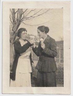 Old Photo Women Eating Ice Cream Cones Photograph by girlcatdesign, $8.00