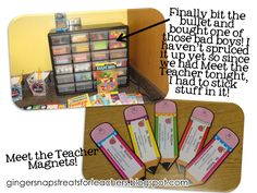 Meet the teacher Magnet!! Such a great idea so parents can't loose your contact info!