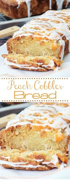 Peach Cobbler Bread - the easiest way to make peach cobbler! Canned peaches and a sweet bread batter, topped with a glaze - this is perfect for spring! AD BobsSpringBaking A peach cobbler bread recipe with canned peaches and a powdered sugar glaze. Easy Bread Recipes, Baking Recipes, Dessert Recipes, Meat Recipes, Sweet Desserts, Dessert Bread Machine Recipes, Vegetarian Recipes, Breakfast Bread Recipes, Desert Recipes
