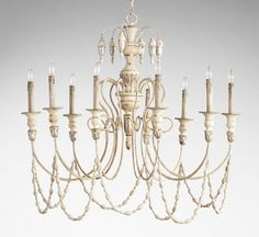 Cyan Lighting 05784 Florine - Nine Light Chandelier, Persian White/Mystic Silver Finish Empire Chandelier, White Chandelier, Rectangle Chandelier, Lantern Pendant, Chandelier Lighting, Cyan Lighting, Wagon Wheel Chandelier, Iron Chandeliers, Large Candles