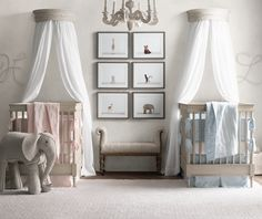 give a twins' room a cohesive look with matched furnishings and bedding that's coordinated yet still individualized for each child.