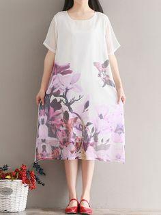 Floral Print Short Sleeve Loose O-neck Women Dresses