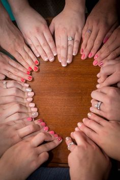 Heart shaped mani picture with the bridesmaids