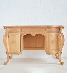Classic Carved French Style Dressing Table with Cupboards / French Dressing…