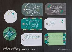 Awesome printable gift tags!!!  DIY Urban Holiday Gift Tags
