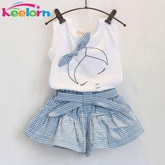 Keelorn 2017 Marca Muchachas Del Verano Que Arropan Algodón de Moda de impresión de manga corta Camiseta y pantalones cortos niñas ropa deportiva trajes