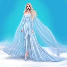 Elsa, Queen of Ahtohallan by Armand Mehidri Disney Princess Fashion, Disney Princess Frozen, Disney Princess Drawings, Disney Princess Dresses, Barbie Princess, Princess Style, Disney Drawings, Gown Drawing, Dress Design Drawing