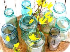 How to make any jar look like a  Mason Blue Glass Canning Jar DIY