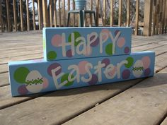 Happy Easter polka dot sign by whatsyoursigndesigns on Etsy, $20.00