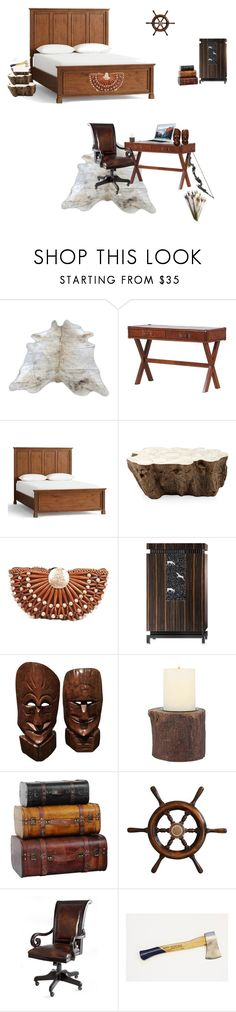 """""""Interior #17 Oli's room"""" by rmcnellytilford on Polyvore featuring Pottery Barn, Palecek, Stonebriar Collection, Hooker Furniture, men's fashion and menswear"""
