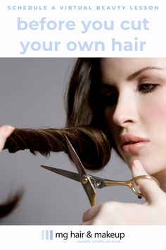 """Before you cut your own hair, schedule a virtual beauty consultation to learn what to do and what not to do. Because the asymmetrical look is no longer """"in"""". Hair And Makeup Tips, Hair Makeup, Virtual Haircut, Diy Haircut, Celebrity Hair Colors, How To Cut Your Own Hair, Celebrity Haircuts, Glamour Beauty, Fresh Hair"""
