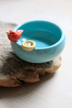 Custom-Made Bird and Nest Mini Bowl  by Tasha McKelvey on Etsy  (via Young House Love)