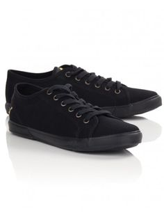 Men's black canvas Mercier plimsolls by Voi with lace-up fastening, a vulcanized sole and small embroidered logo to heel. Plimsolls, The New School, Black Canvas, Mix N Match, Boy Fashion, All Black Sneakers, Lace Up, Footwear, Pairs