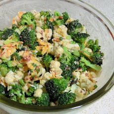 Broccoli & cauliflower Salad. Note to self: The sugar mayo dressing tasted like frosting.  Try something different next time.