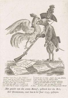 Anonymous | De bedotte Kees, Anonymous, 1787 | Staande keeshond (patriot) die zijn geweer schuin houdt waarlangs een Franse haan (Dumouriez) naar boven klimt en de Kees een bril op de neus zet. Op de grond liggen vier proclamaties: 'Alliantie met Frankrijk', 'Delfsche Declaratoir', 'Lyst van de Fransche hulptroepen te Gevet' en 'Defensie der Stad Utrecht door den Rhijn-Graaf Salm'. Op het blad onder de plaat een vers in twaalf regels.