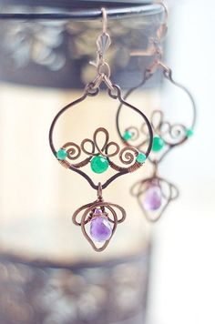 Wire wrapped copper earrings -dangle oxidized antiqued gypsy boho - e�� by wanting