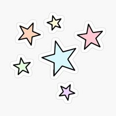 'Pastel Stars' Sticker by lea-lani Stickers Cool, Preppy Stickers, Bubble Stickers, Star Stickers, Printable Stickers, Laptop Stickers, Journal Stickers, Planner Stickers, Homemade Stickers