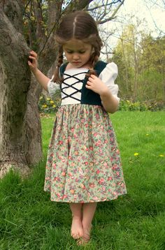 Cute Gretel costume! Maria's Austrian Floral Dress Sizes 812 by TaylorsScarletThread, $55.00