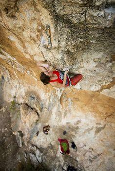 "Klavdiya  Ilyushchenko climbing ""Houdini"" 7b+, Lekaki crag, Hymettos, Athens"