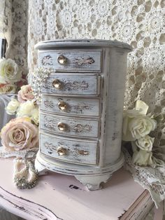 Shabby Jewelry Box,Tall Musical Jewelry Armoire,French Farmhouse,bridal shower gift, Hollywood Regency,chippy distressed,SCT