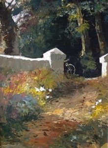 Bicycle Against Wall In Woods - Tony De Freitas. Drummond artist Tony de Freitas is painting his way to the top. He has two passions, art and music and chooses to invest in both Upcoming Artists, South African Artists, Asian Art, Art Photography, Art Gallery, Landscape Paintings, Landscapes, Illustration, Artwork