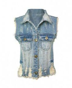 Vintage Blue Distressed Denim Vests