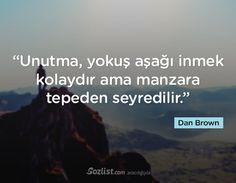 """✔""""Unutma, yoxuş aşağı düşmək asandır, amma mənzərə təpədən seyr edilir"""". #Dan_Brown #sözlər #yazar #şair #kitab"""