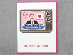 Stolen Heart Valentine Card by HastingsStudio on Etsy