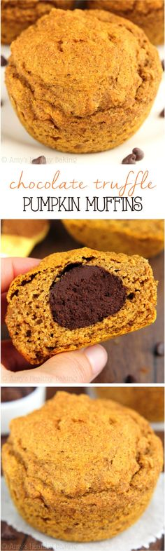Forget chocolate chips -- these pumpkin muffins have a huge TRUFFLE inside! Healthy, clean eating & only 146 calories!