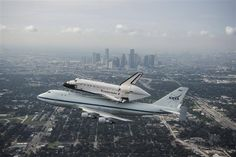 September 19, 2012: The space shuttle Endeavour flies over Houston, atop NASA's Shuttle Carrier Aircraft. The modified 747 jetliner is flying Endeavour to Los Angeles where it will be placed on public display at the California Science Center. This is the final ferry flight scheduled in the Space Shuttle Program era. Heartbroken Houstonians turned-out in record numbers for a final goodbye, after the city was denied a retired orbiter to display at JSC. #Houston #Shuttle #NASA #Space